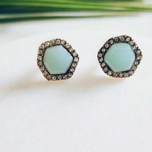 Light blue stone crystal studs